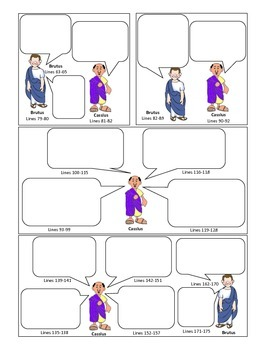 Julius Caesar Act 1 Comic Strip for Note-taking, Active Reading, Study Guide