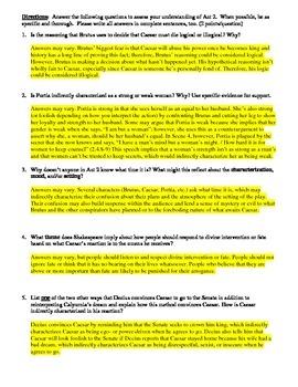 Julius Caesar Act 2 Multiple Choice and Short Answer Quiz