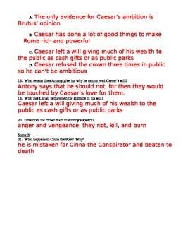 Julius Caesar Act 3 Note Taking Work Sheet