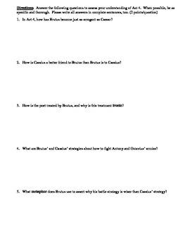 Julius Caesar Act 4 Multiple Choice and Short Answer Quiz