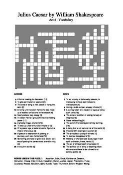 Julius Caesar - Act 4 Vocabulary Crossword