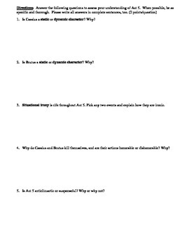 Julius Caesar Act 5 Multiple Choice and Short Answer Quiz