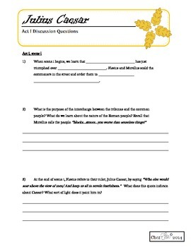 Julius Caesar - Act I Activity Pack