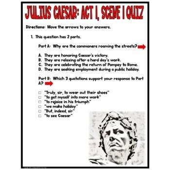 Julius Caesar: Act I , Scene I Common Core Reading Test Prep Quiz Pack