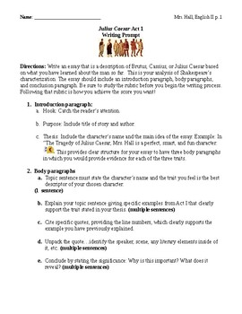 Julius Caesar Act I Writing Project Characterization