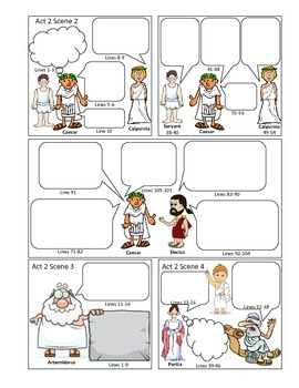 Julius Caesar Act II Comic Strip for Note-taking, Active Reading, Study Guide