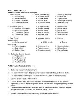 Julius Caesar Act II Quiz (Analogies & t/f) and KEY