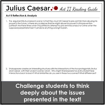 Julius Caesar Act II Reading Guide for Engagement and Understanding