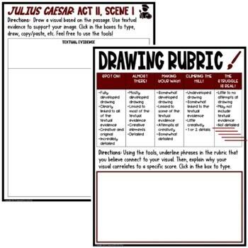 Julius Caesar: Act II , Scene I Common Core Reading Test Prep Quiz Pack