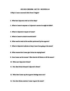Julius Caesar Act II - Scenes 2-4 study guide