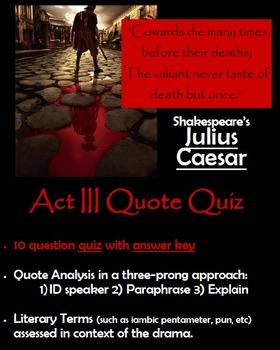 Julius Caesar Act Iii Quote Quiz By S J Brull Tpt