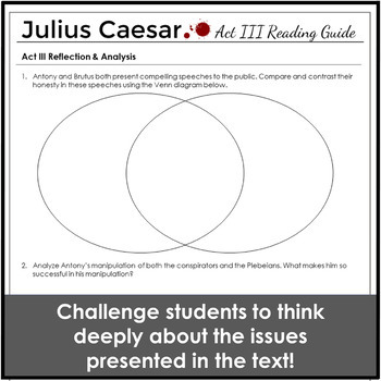Julius Caesar Act 3 Reading Guide for Any Unit Plan