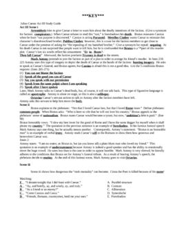 Julius Caesar Act III Study Guide and KEY
