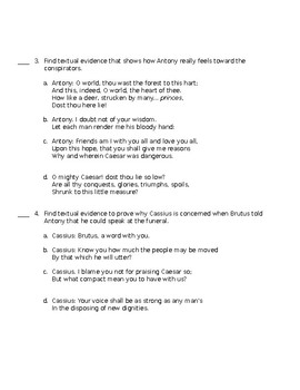 Julius Caesar  Act III (Textual Evidence)