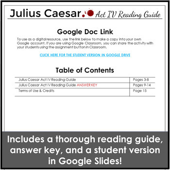 Julius Caesar Act IV Reading Guide & Study Guide for Increased Comprehension