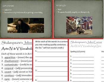 Julius Caesar Act IV & V Vocabulary