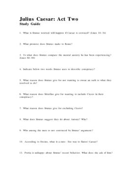 Julius Caesar Act Two Study Guide