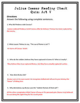 Julius Caesar Act V Reading Check Quiz