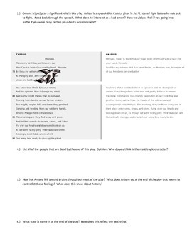 Julius Caesar Act V Reading Guide