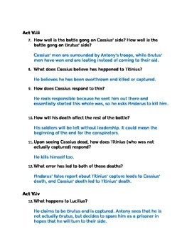Julius Caesar Act V Study Guide and Key