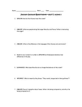 Julius Caesar Act i Scene i Skills Based Questions