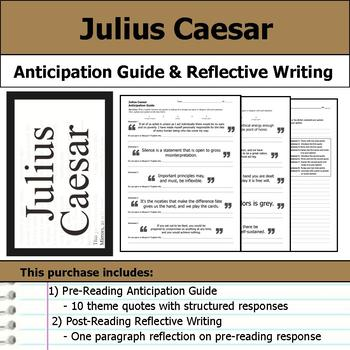 Julius Caesar Anticipation Guide Reflection Writing By S J Brull
