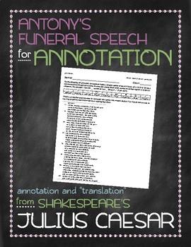Julius Caesar: Antony's funeral speech annotation