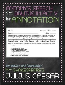 Julius Caesar: Antony's speech over Brutus annotation