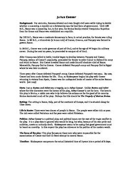 Julius Caesar Background Information For Students