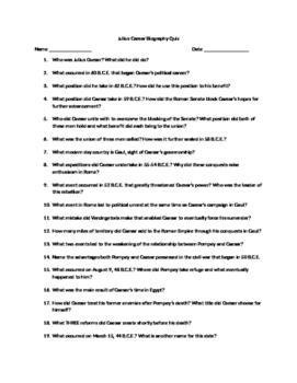 Julius Caesar Biography Quiz