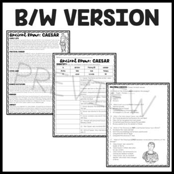 Julius Caesar Biography Reading Comprehension Worksheet; Ancient Rome