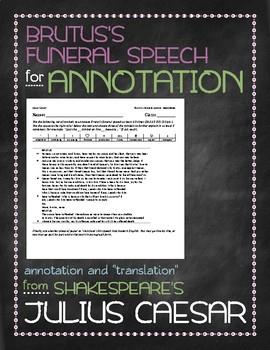 Julius Caesar: Brutus's funeral speech annotation