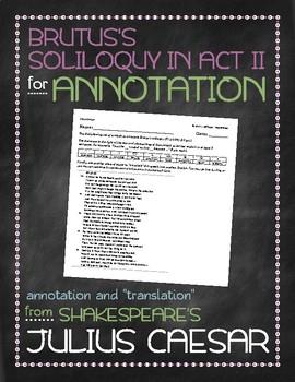 Julius Caesar: Brutus's soliloquy annotation