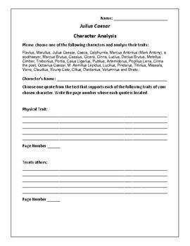 Julius Caesar - Character Analysis Activity - William Shakespeare