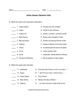 Julius Caesar Character Quiz with Answer Key
