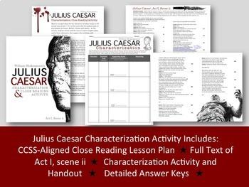 Julius Caesar: Characterization & Close Reading Activity