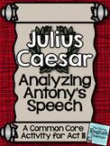Julius Caesar Close Reading: Analyzing Antony's Speech