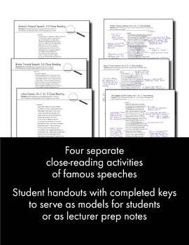 Julius Caesar, Close Reading Lesson Materials for Four Speeches, Shakespeare