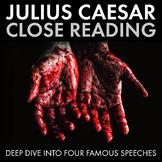 Julius Caesar, Close Reading Materials for Four Speeches, Shakespeare, CCSS