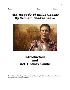 Julius Caesar - Comprehensive Study Guide Packet - CCSS Aligned