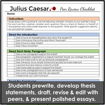 Julius Caesar Complete One Week Essay Unit for Literary Analysis Writing