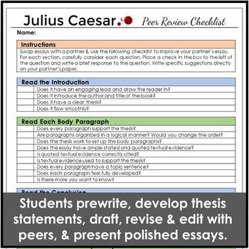 Julius Caesar Essay Unit