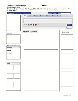 Julius Caesar Facebook Lesson Creative Activity
