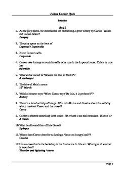 Julius Caesar - Final Assessment / Quiz
