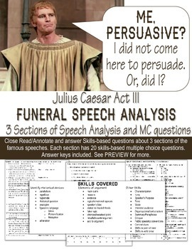 Julius Caesar Funeral Speeches - Close Read, Analyze, Answ