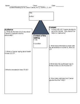 Julius Caesar Guided reading Questions Act 2