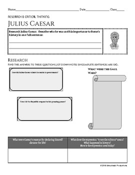 Julius Caesar: Hero, Villain, or Somewhere in Between?  Note-catcher & Activity