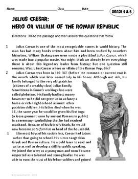 Julius Caesar: Hero or Villain of the Roman Republic? ELA Test Prep