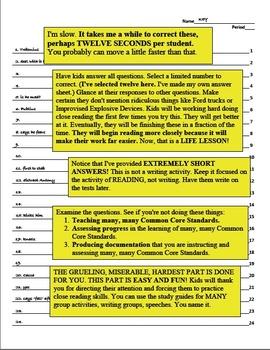 Julius Caesar Initial Reading, 5 Quizzes, 12 Items Each, Answer Keys
