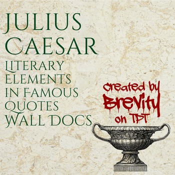 Julius Caesar Literary Elements in Famous Quotes Wall Docs